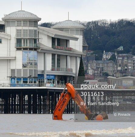 Digger Recovery on Weston Super Mare Beach, Weston Super Mare, UK - 6 Jan 2021