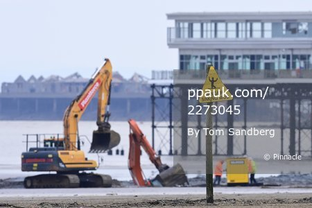 Digger Recovery on Weston Super Mare Beach, Weston Super Mare, UK - 6 Jan 2021