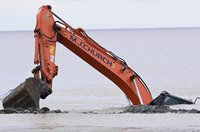 Digger Recovery on Weston Super Mare Beach, Weston Super Mare, U
